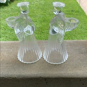 PAIR OF 24% LEAD CRYSTAL ANGEL CANDLE HOLDERS